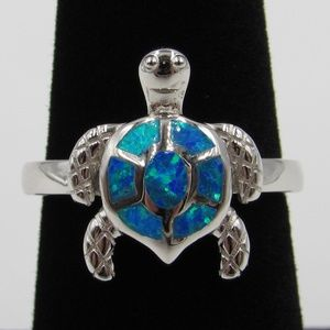 Jewelry - Sterling Silver Blue Opal Cute Turtle Band Ring
